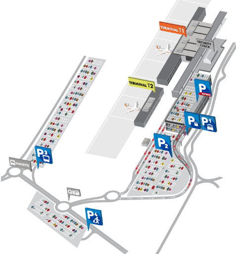 Brussels South Charleroi Airport map for parking and arrivals