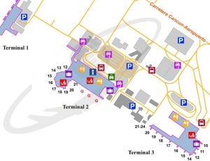 CUN-Cancun-airport-departures-map