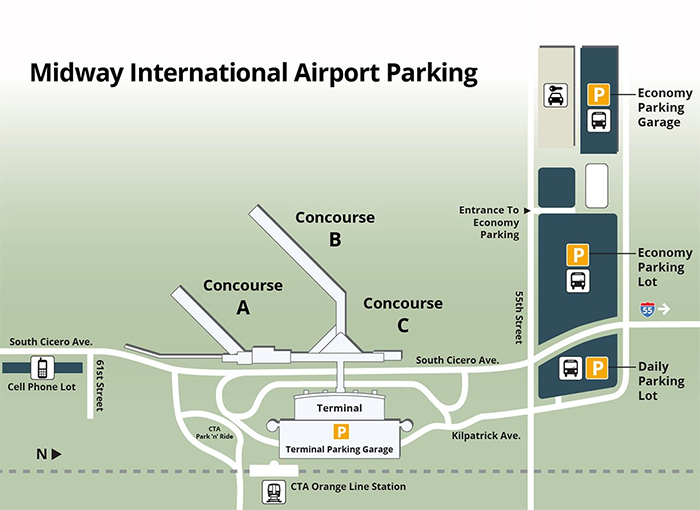 Chicago-Midway-Airport-arrivals MDW-terminal and parking area