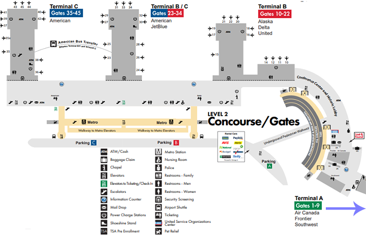 DCA-departures-Ronald-Reagan-Airport-level-2-concourse-gates-and-boarding