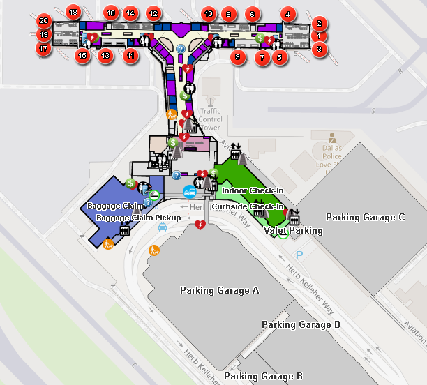 Dallas-Love-Field-Airport-Departures-DAL-map