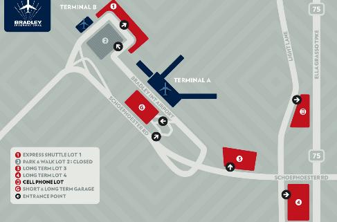 Hartford-Bradley-Airport-Departures-BDL-parking-areas-map