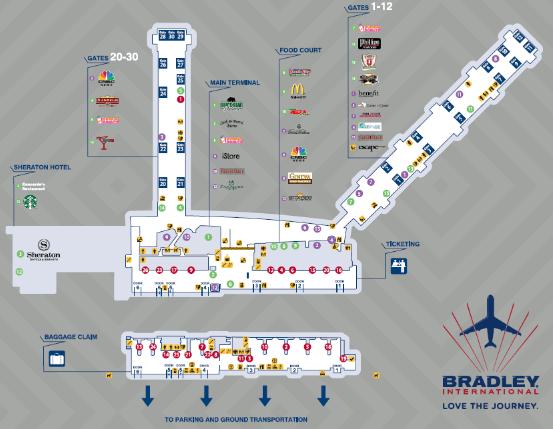 Hartford-Bradley-Airport-arrivals-BDL-terminal-map