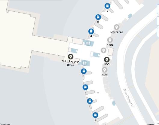 Jacksonville-airport-arrivals-JAX-terminal-map-level-1-baggage-claim