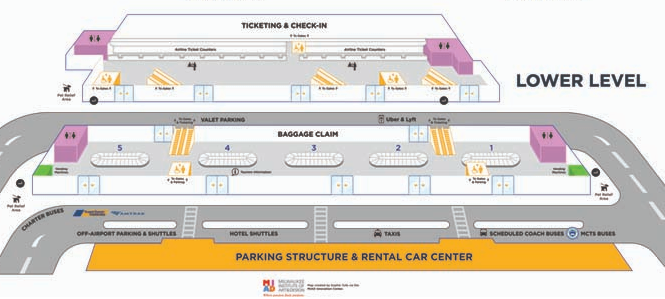 Milwaukee-Airport-ARRIVALS-MKE-terminal-map-lower-level-baggage-claim-and-ticketing