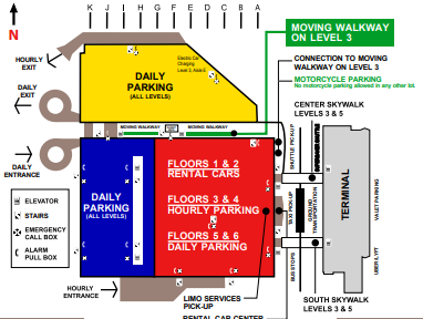 Milwaukee-Mitchell-Airport-arrivals-parking-areas-map