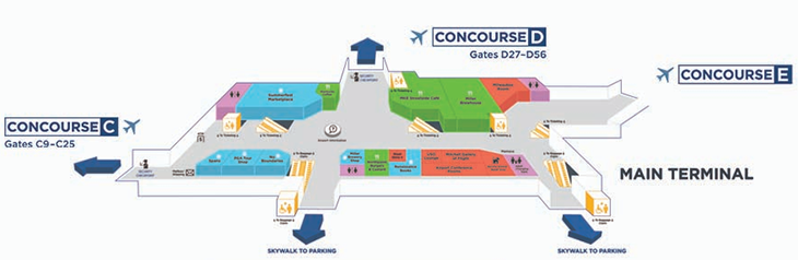 Milwaukee-Mitchell-Airport-departures-MKE-terminal-map-upper-level-boarding-area