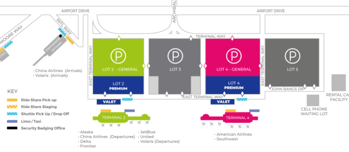 Ontario-airport-arrivals-ONT-parking-area