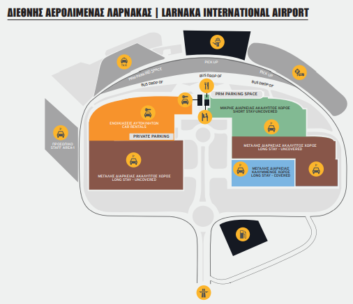 larnaca airport departures LCA parking and terminal map