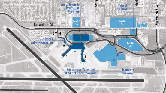 pbi arrivals parking map