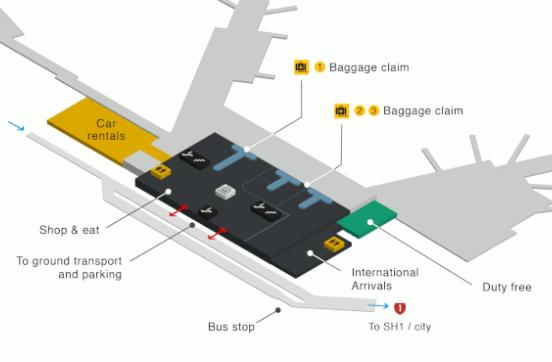 wellington airport arrivals WLG terminal ground floor