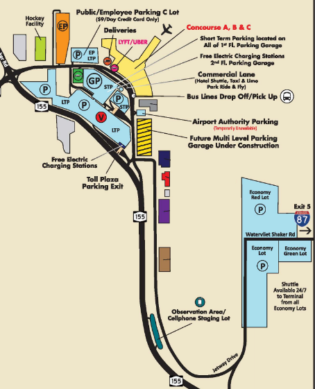 Albany-Airport-Arrivals-ALB-parking-area