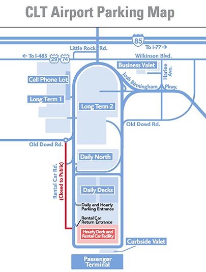 Charlotte-Douglas-Airport-departures-CLT-parking-map