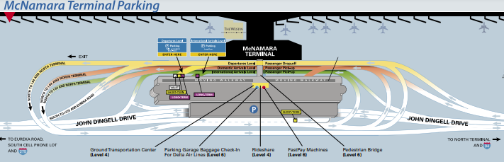 Detroit-Metro-Airport-Arrivals-DTW-mc-namara-terminal-parking