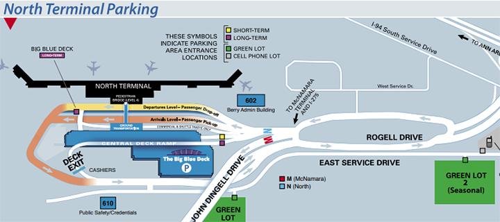 Detroit-Metro-Airport-departures-DTW-north-terminal-parking