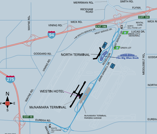 Detroit-Wayne-County-Airport-Arrivals-map-overview