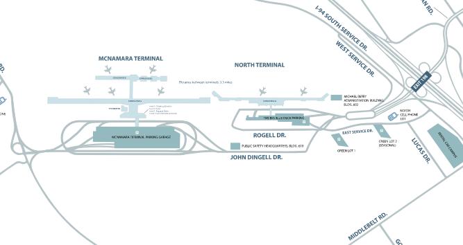 Detroit-Wayne-County-Airport-departures-map-overview