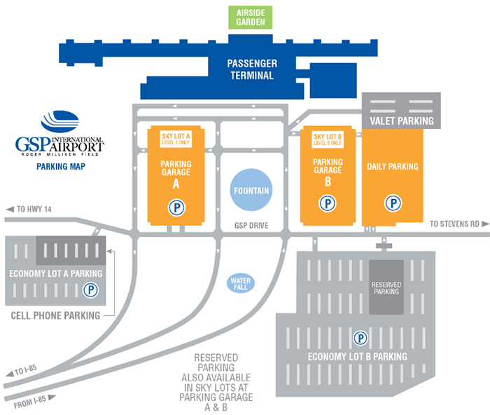 GSP-Departures-Greenville-Spartanburg-Airport-Parking-lots