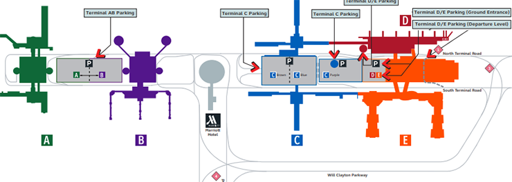 Houston-George-Bush-airport-Arrivals-IAH-parking-map