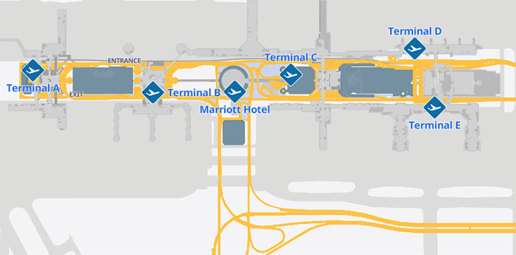 Houston-George-Bush-airport-Departures-IAH-map