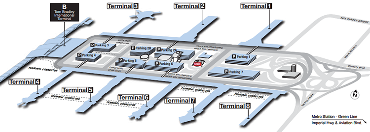 Los-Angeles-Airport-Arrivals-LAX-map-include-parking-area