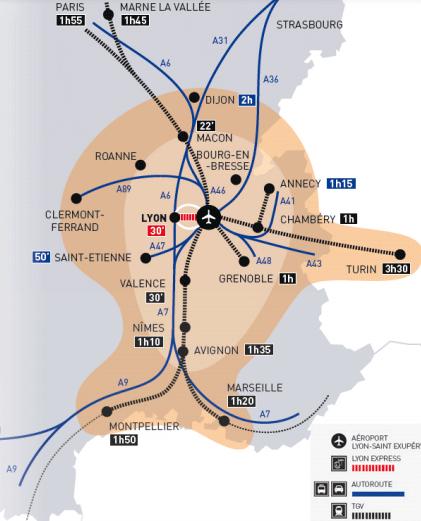 Lyon–Saint-Exupéry-Airport-location