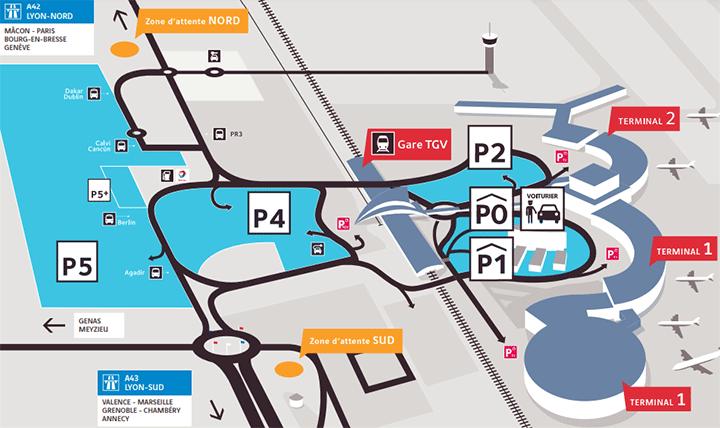 Lyon-Airport-Arrivals-LYS-parking-map
