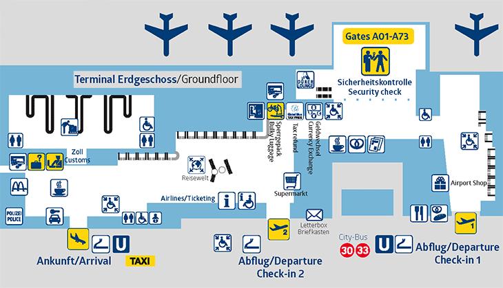 Nuremberg-Airport-Arrivals-NUE-map-terminal-1-ground-floor-baggage-claim-and-ticketing