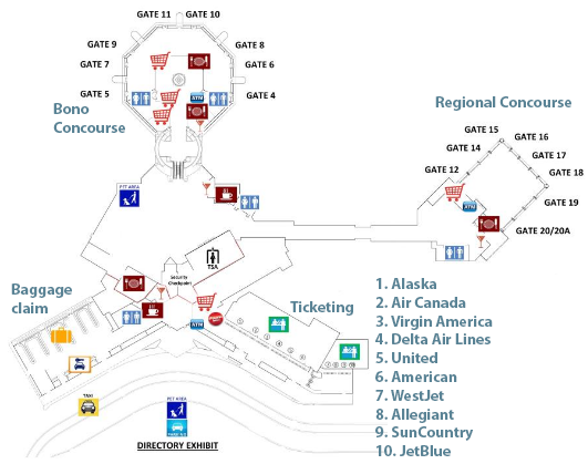 Palm-Springs-Airport-Arrivals-PSP-terminal-map