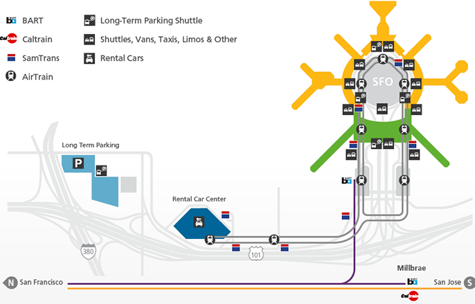 San-Francisco-Airport-departures-SFO-transport-and-parking