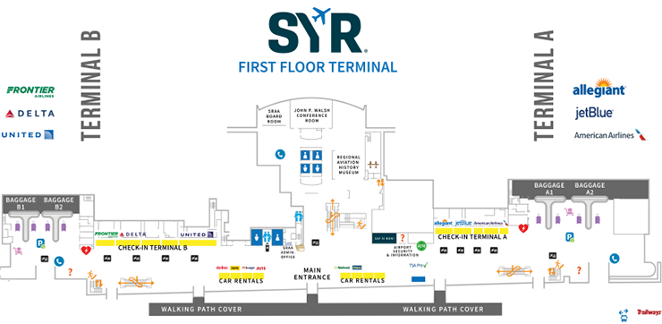Syracuse-Airport-Arrivals-SYR-terminal-map-first-floor