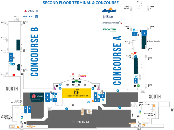 Syracuse-Airport-Departures-SYR-terminal-map-second-floor