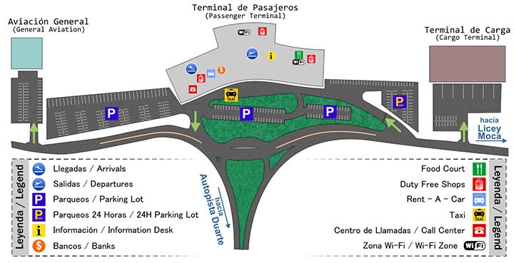 cibao-airport-arrivals-STI-terminal-&-parking-map