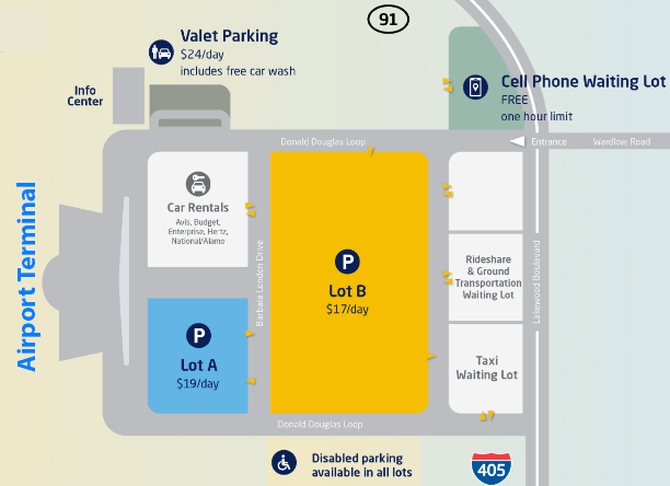 long-beach-airport-arrivals-LGP-parking-areas
