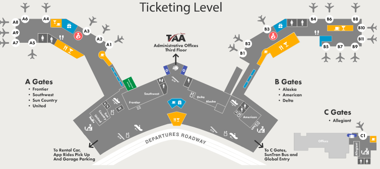 tucson-airport-departures-TUS-terminal-ticketing-and-boarding-level