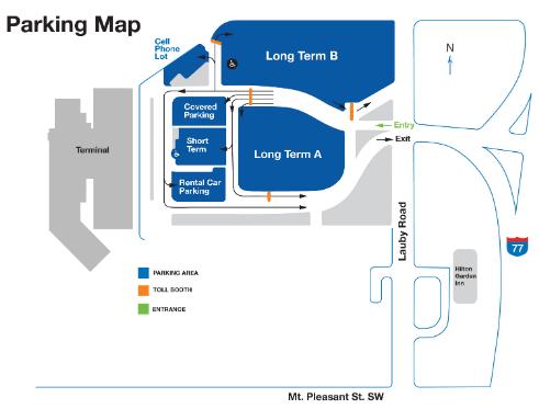 CAK-departures-parking-map
