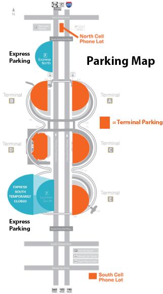 Dallas-Fort-Worth-Departures-DFW parking map