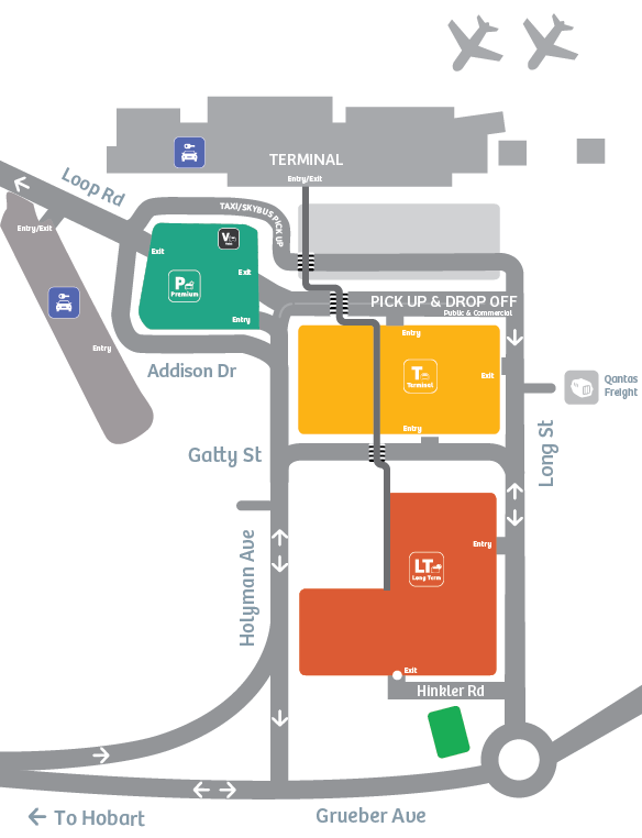Hobart-Airport-departures-terminal-and-parking-map