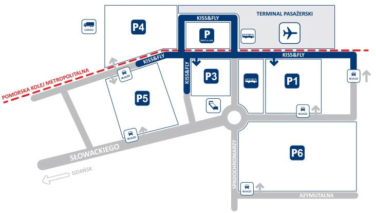 Gdańsk-Lech-Wałęsa-Airport-Arrivals-parking-map
