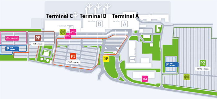 Katowice-Airport-Arrivals-KTW-parking-map