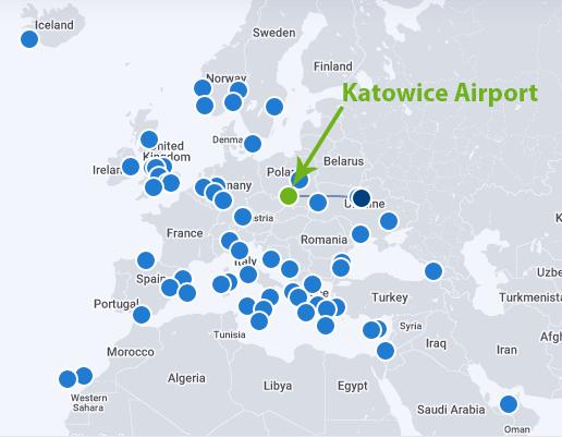 Katowice-Airport-Departures-KTW-destinations-map
