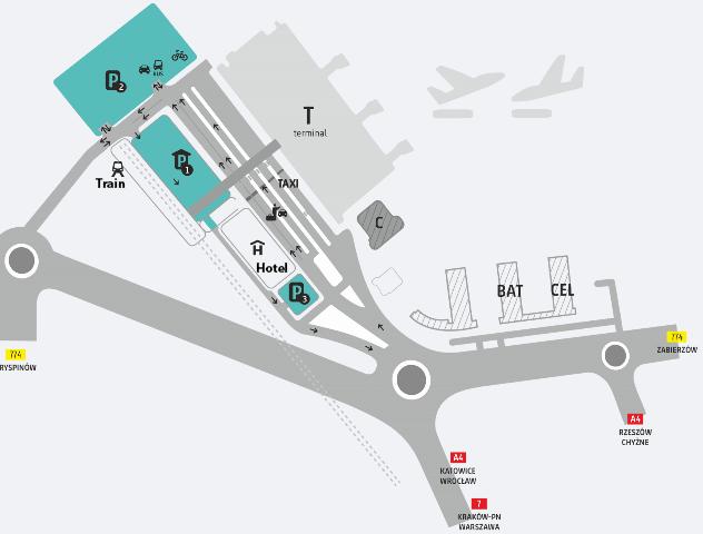Kraków-Airport-Arrivals-KRK-parking-map-terminal