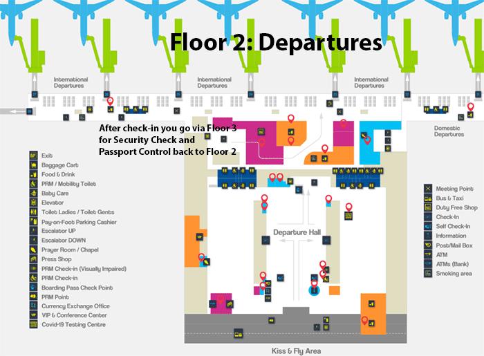 Zagreb Airport Departures ZAG terminal map floor 2